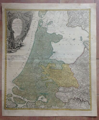 HOLLAND DATED 1733 HOMANN HRS LARGE ANTIQUE ENGRAVED MAP 18TH CENTURY
