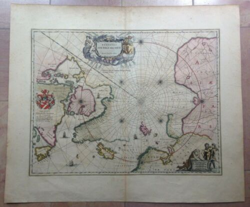 NORTH POLE 1645 WILLEM BLAEU UNUSUAL LARGE ANTIQUE ENGRAVED MAP 17e CENTURY