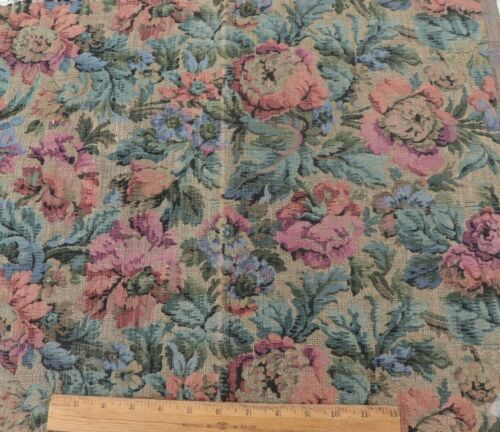 """Antique French Floral Cotton Jacquard Tapestry Fabric Sample~L-18"""" X W-22"""""""