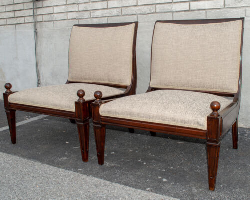 Great Pair of Modern maple wood Chairs 1950's Newly Upholstery & Restored