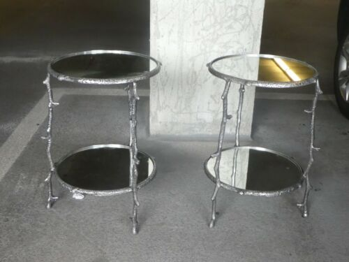 VINTAGE PAIR OF TWO TIER ROUND ALUMINUM TREE BRANCH TABLES