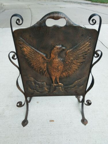 Antique Arts Crafts Iron Copper hand hammered Eagle  Fire Screen Wrought iron
