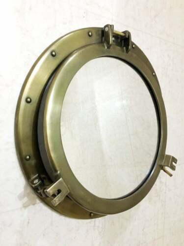 "Antique Canal Boat Porthole 20"" Window Ship Round Mirror Home Wall Decor"