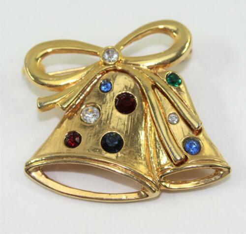 Vintage Gold Tone Christmas Bell Pin Brooch with Colored Rhinestones