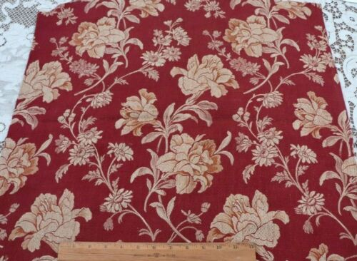 """Antique c1860 French Brick & Tan Floral Woven Cotton Tapestry Fabric~50""""X24"""""""
