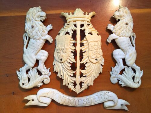 French Army Coat of Arms | Montioye St Denis  19th Century Carved & X RARE!