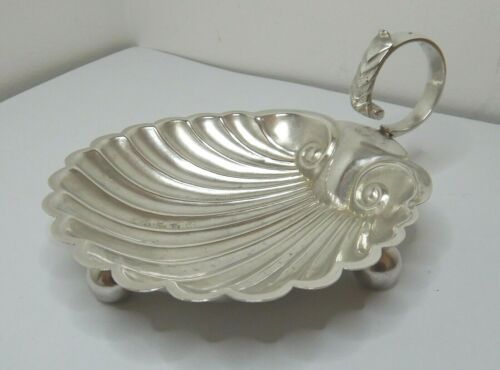 ANTIQUE ENGLISH STERLING SILVER SHELL DISH BIRMINGHAM 1886