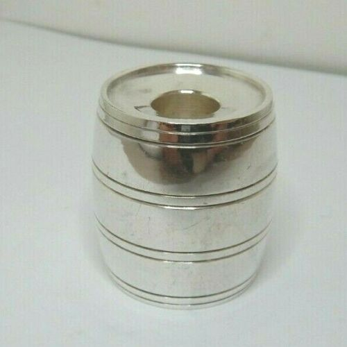ANTIQUE SILVER PLATED BARREL CANDLESTICK - DOUBLE ENDED FOR DIFFERENT SIZES