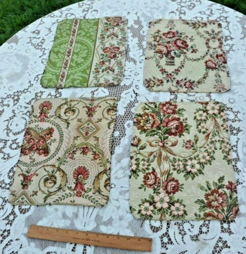 4 Antique French Floral Baskets & Bow Tapestry Fabric Samples