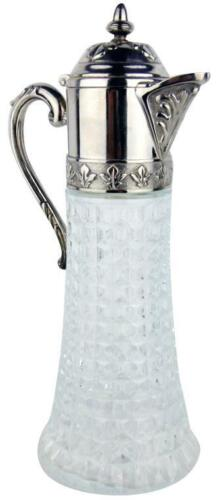 Vintage Italian Diamond Glass & Silver Plated Claret Jug Decanter Water Pitcher