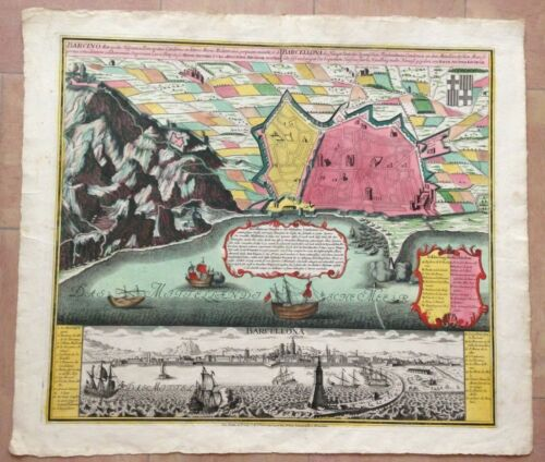 BARCELONA SPAIN by MATHEUS SEUTTER 1730 VERY UNUSUAL LARGE ANTIQUE VIEW & PLAN
