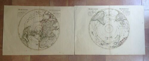 NORTHERN & SOUTHERN HEMISPHERE 1714 GUILLAUME DELISLE UNUSUAL LARGE ANTIQUE MAP