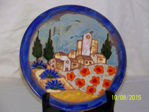 Rare French Mezena Vallauris Hand Painted High Fired Art Pottery Vintage Trivet