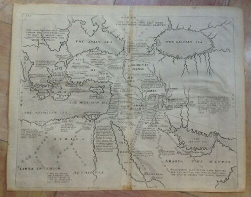 MIDDLE EAST ARABIA 1666 by RALEIGH UNUSUAL ANTIQUE ENGRAVED MAP 17e CENTURY