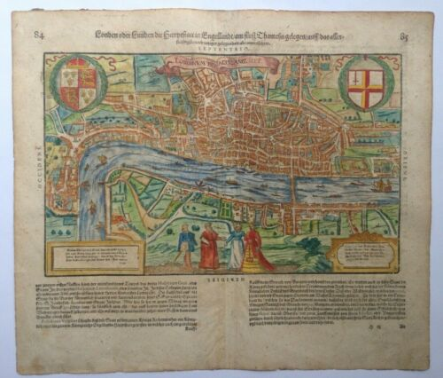 LONDON ENGLAND 1628 XVIIe SIECLE COSMOGRAPHY OF SEBASTIAN MUNSTER ANTIQUE VIEW