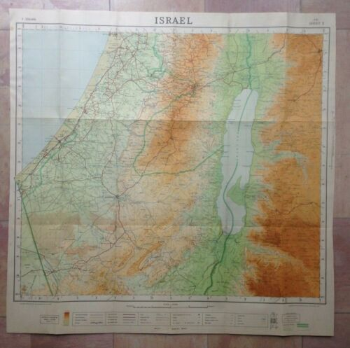 ISRAEL 1951 LARGE ANTIQUE FOLDING MAP XXe CENTURY ORIGINAL