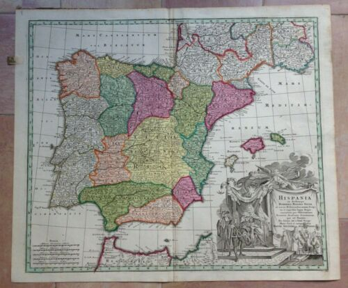 SPAIN PORTUGAL by MATHEUS SEUTTER 1730 UNUSUAL LARGE ANTIQUE MAP 18TH CENTURY
