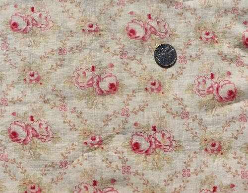 2 Pieces Of Vintage French Rose Floral Cotton Fabrics c1910-1940