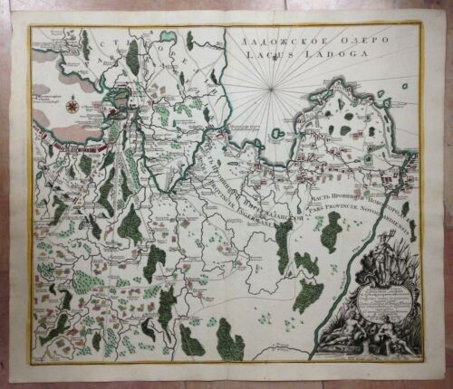ST PETERSBURG LAKE LADOGA SEUTTER 1741 RUSSIAN EDITION UNUSUAL LARGE ANTIQUE MAP