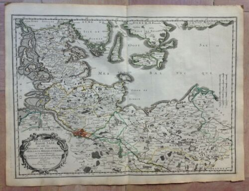 GERMANY NORTHERN PART 1657 NICOLAS SANSON  LARGE ANTIQUE MAP 17TH CENTURY