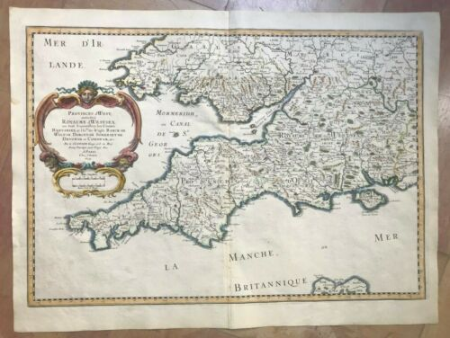 SOUTH ENGLAND ISLE OF WIGHT 1654 NICOLAS SANSON LARGE ANTIQUE MAP IN COLORS