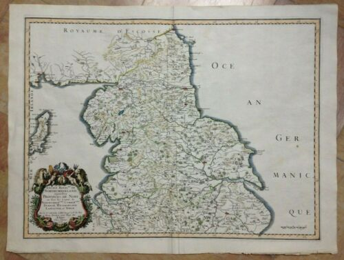 NORTHERN ENGLAND 1658 NICOLAS SANSON D'ABBEVILLE LARGE ANTIQUE MAP IN COLORS