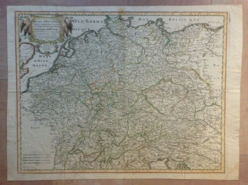 GERMANY BOHEMIA 1665 NICOLAS SANSON LARGE ANTIQUE MAP IN COLORS 17TH CENTURY