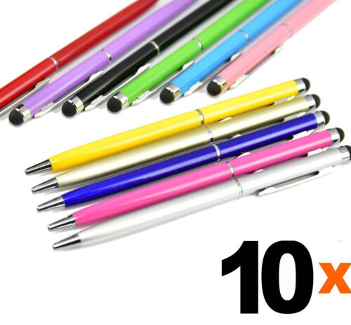 10Pc 2-in-1 Stylus Ballpoint Ink Touch Screen Pen for Android Tablet Tab Surface