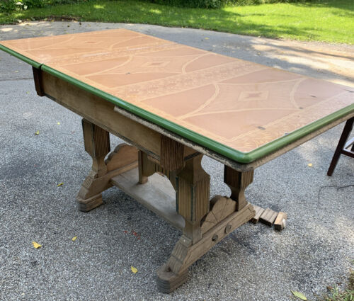 "Antique 1920s Art Deco Style Enamel Top Table Green Brown Needs Work 63"" x 32""w"