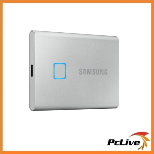 NEW Samsung 500GB Portable SSD T7 Touch Silver USB 3.2 Gen2 Fingerprint Security