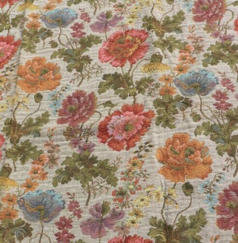 """Antique Vintage c1920 French Floral Tapestry Sample Fabric~L-49"""" X W-35"""""""