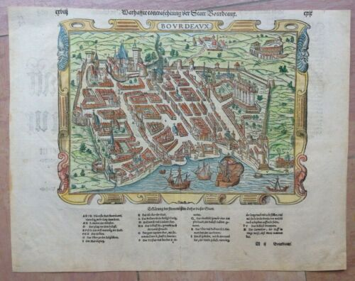 BORDEAUX FRANCE 1550 XVIe SIECLE COSMOGRAPHY OF SEBASTIAN MUNSTER ANTIQUE VIEW