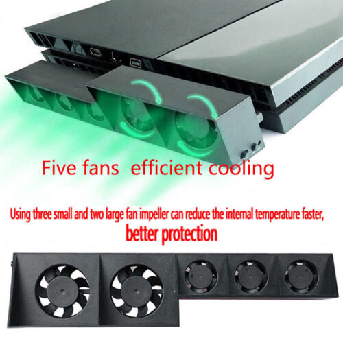 5-Fan For PS4 Playstation Cooling External Turbo Temperature Control Cooler