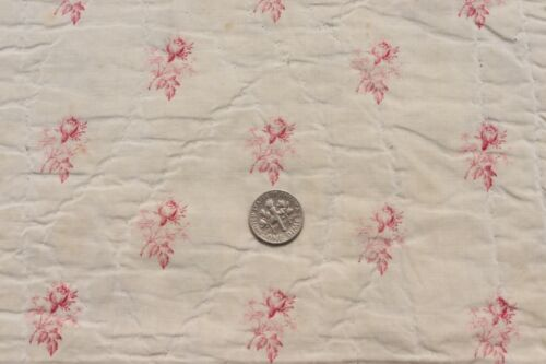 """Antique Pink Rose Printed French Cotton Fabric c1830~Dolls, Design~L-13""""X W-11"""""""
