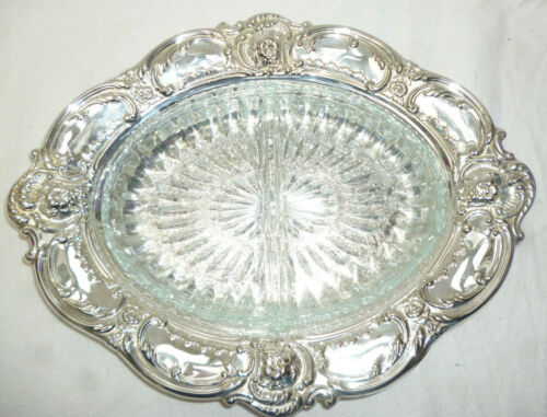 ORNATE SILVER & GLASS SERVING DISH SET - made by Ranleigh - 36cm long - new cond