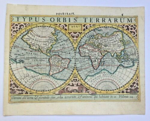 WORLD MAP 1613 MERCATOR HONDIUS ATLAS MINOR NICE UNUSUAL ANTIQUE MAP