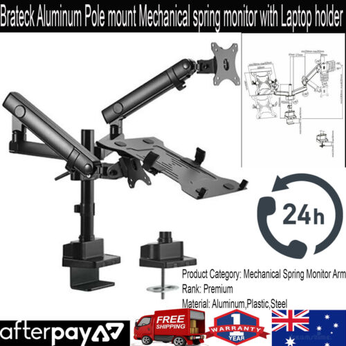Brateck Aluminum Pole mount Mechanical spring monitor with Laptop holder