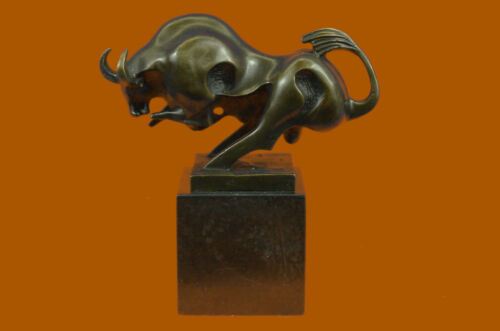 Solid Bronze Sculpture of a Bull Marble Base Abstract Art Deco Figurine Artwork