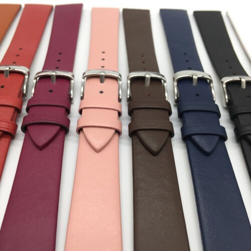 Classic Leather Watch Strap Band Replacement Belt Smooth Wristwatch Band 12-22mm