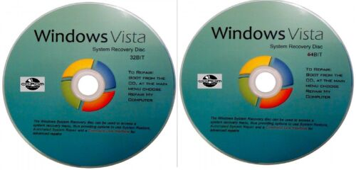 WIN  VISTA 32 & 64 Bit System Recovery Software Disc's - 2018 x 2