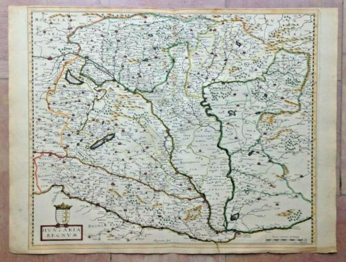 KINGDOM OF HUNGARY 1652 NICOLAS SANSON UNUSUAL LARGE ANTIQUE MAP IN COLORS