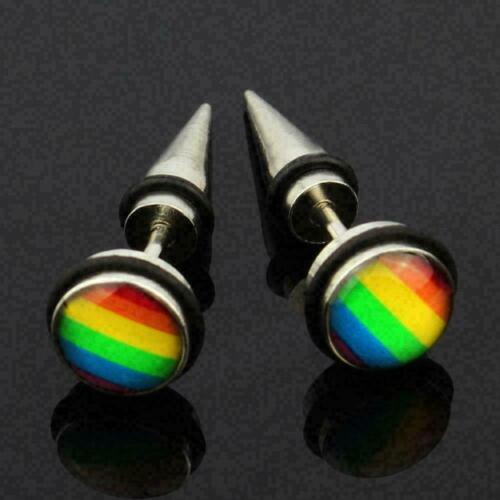1pcs Fashion Rainbow Gay Pride Earrings Rivet Stainless B3e7 Studs Un Ear F4r1