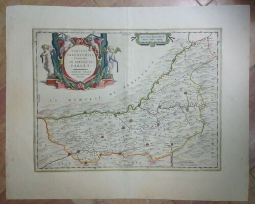 PERIGORD FRANCE 1664 WILLEM BLAEU UNUSUAL LARGE ANTIQUE ENGRAVED MAP 17TH CENT