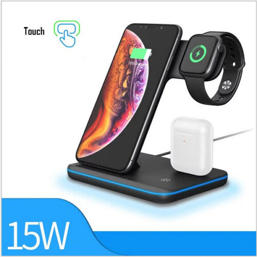 15W 3 in1 Wireless Charger Stand QI Fast Charging Dock For Airpods iPhone iWatch