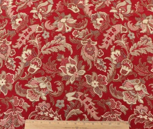 """Antique 19thC French Christmas Red Indienne Style Jacquard Fabric~L-42""""X W-24.5"""""""