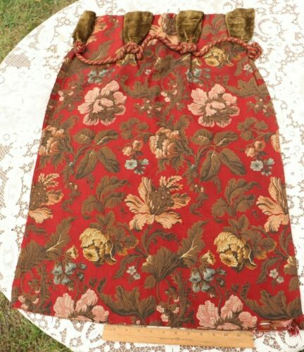 """Antique French Napoleon III Red Floral Tapestry Partial Valance~L-34"""" X W-20"""""""