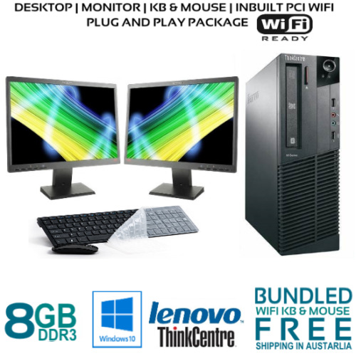 "Computer Package Lenovo M82p 8GB 128GB SSD 500GB HDD 22"" LCD DVD Win10P WIFI"
