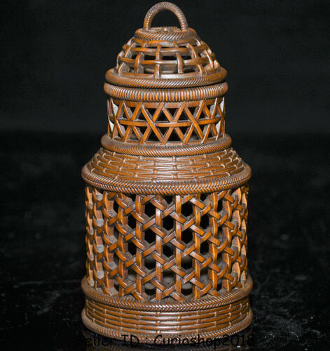 """5.2"""" Old Chinese Boxwood Wood Hand Carved bamboo weaving Hollow pot Jar Crock"""