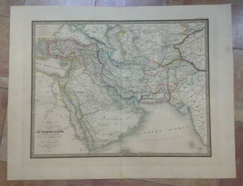 ARABIA PERSIA AFGHANISTAN DATED 1837 ANDRIVEAU-GOUJON LARGE ANTIQUE MAP 19TH C