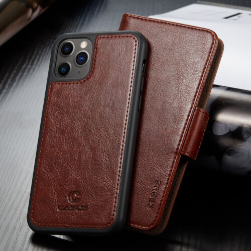 For iPhone 12/11 Pro Max XR XS Mini Removable Leather Wallet Magnetic Card Case